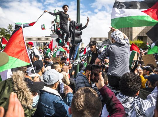 Foto van de pro-Palestinabetoging in Brussel (Belga)